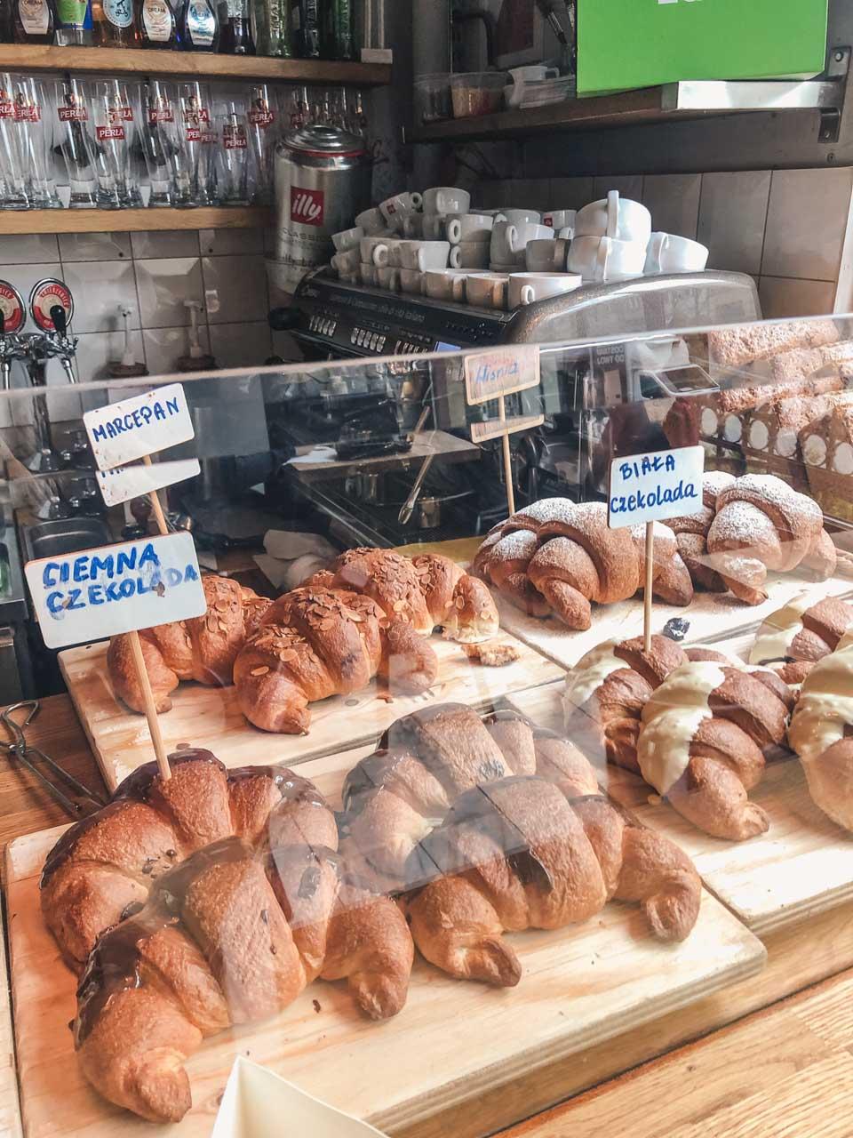 Croissants on display in Breadnia in Łódź, Poland
