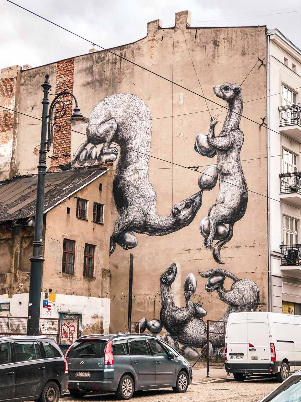 Mural by ROA in Łódź, Poland