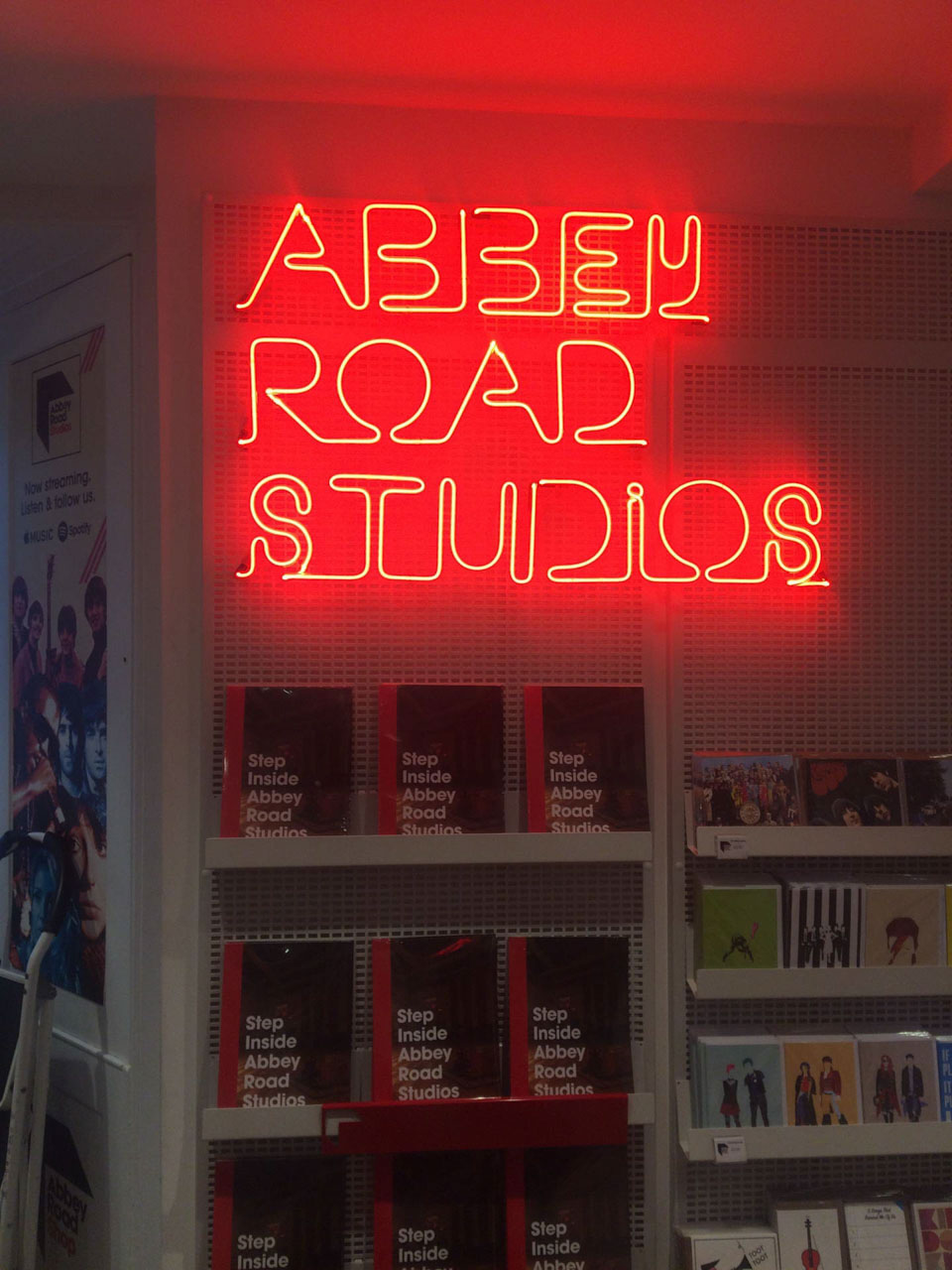 A neon sign inside the Abbey Road Studios in London