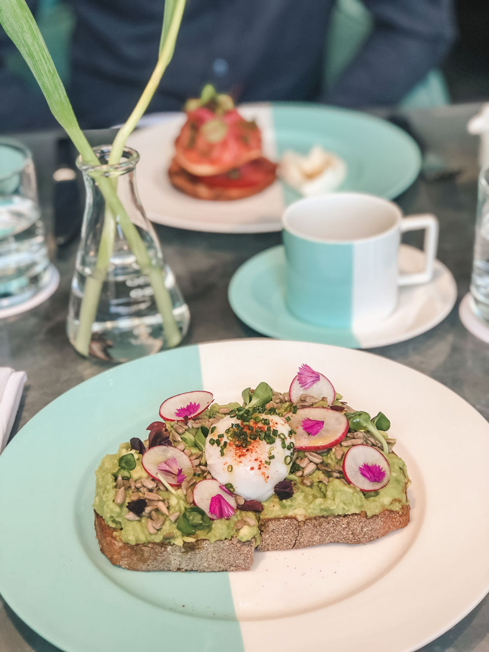Avocado toast with a poached egg at The Blue Box Cafe in New York City