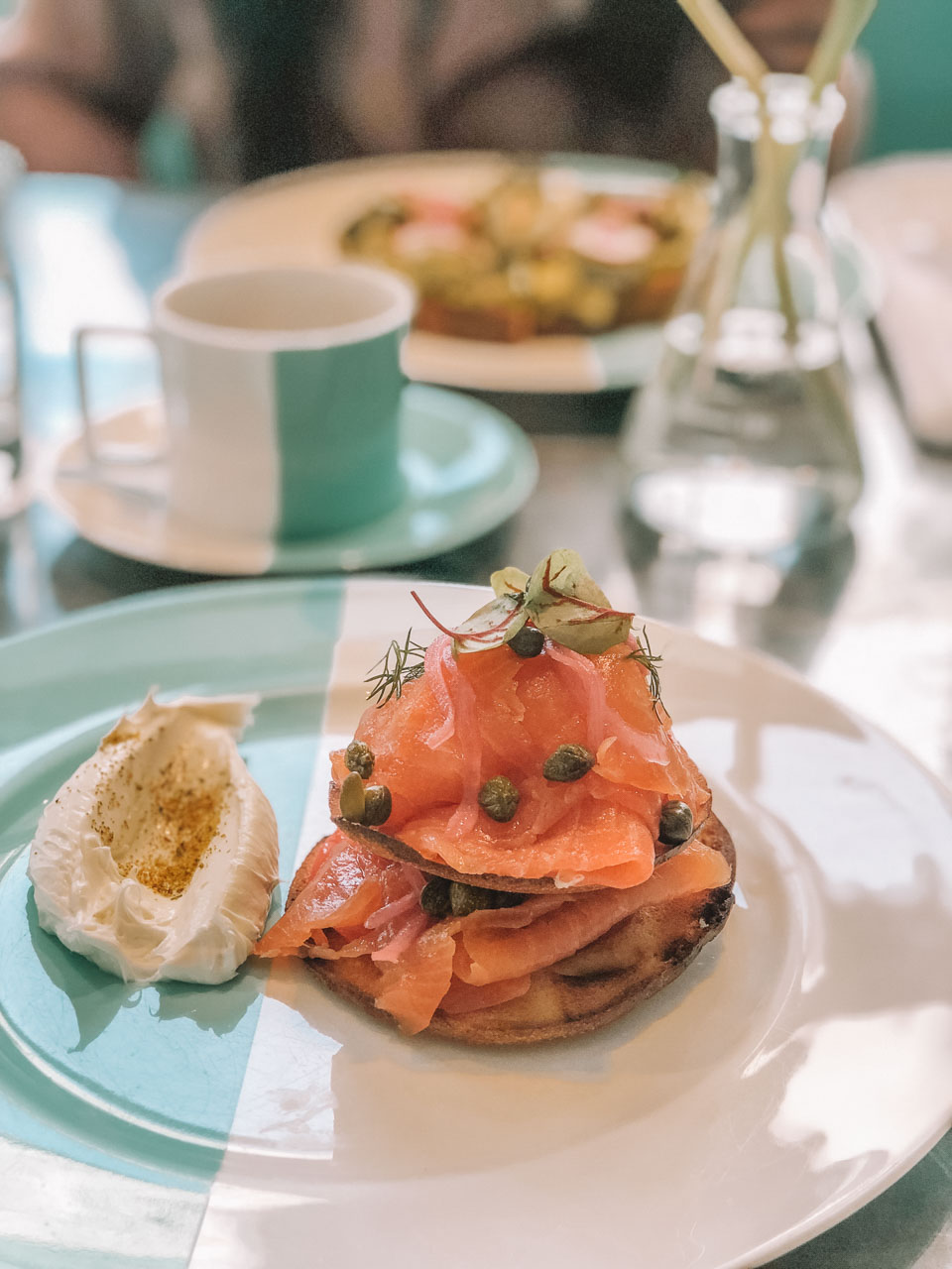 Smoked salmon and bagel stack at The Blue Box Cafe in New York City
