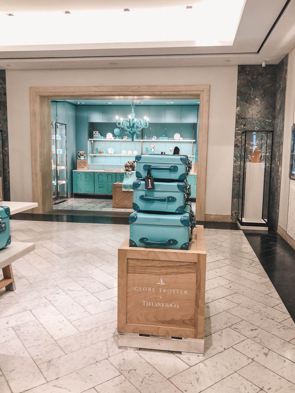 A display of suitcases at Tiffany's store on Fifth Avenue