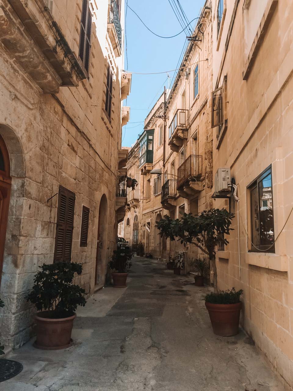 A traditional street lined with plants in Birgu, Malta