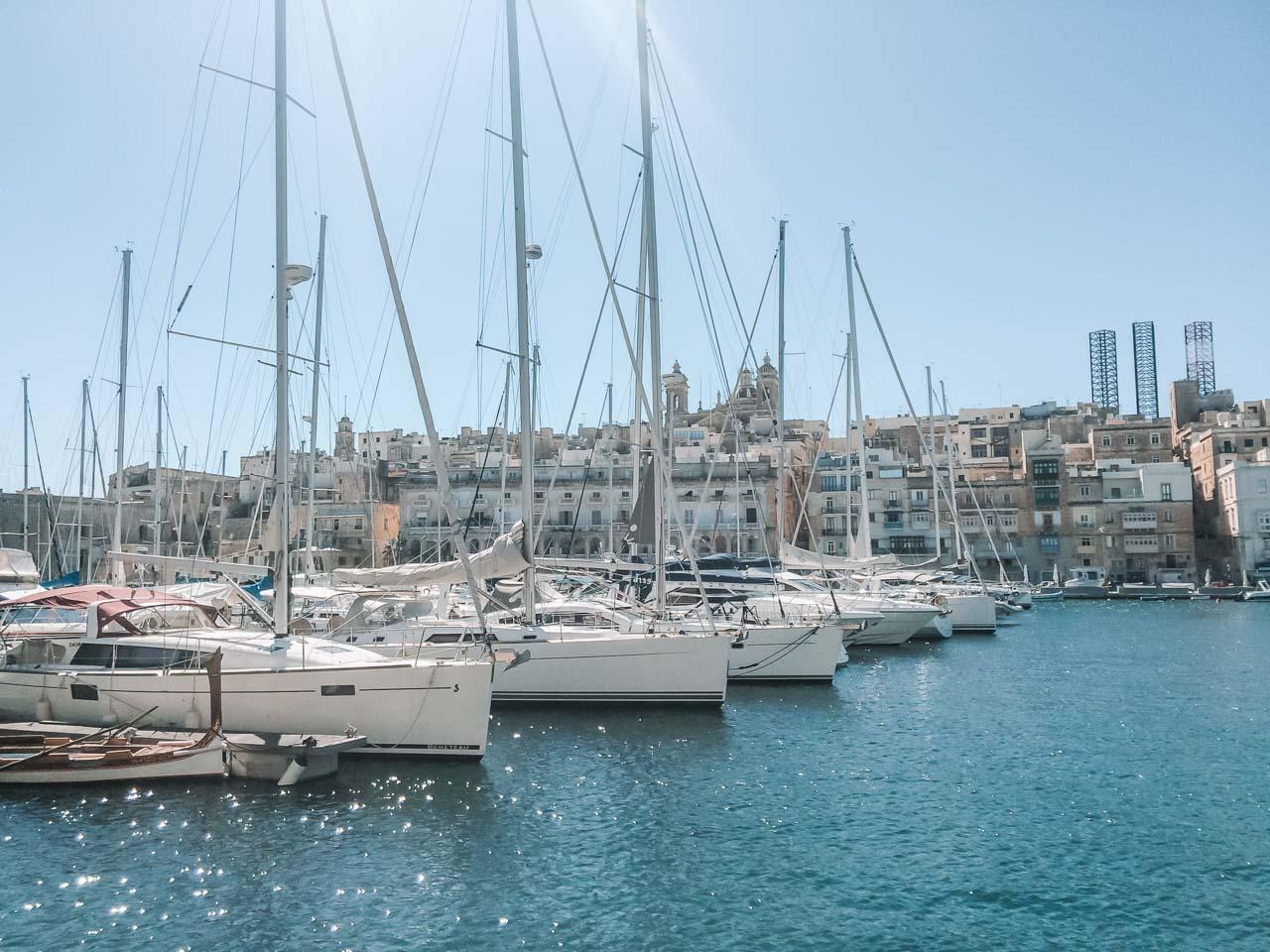 Yachts in Grand Harbour Marina in Birgu / Vittoriosa, Malta