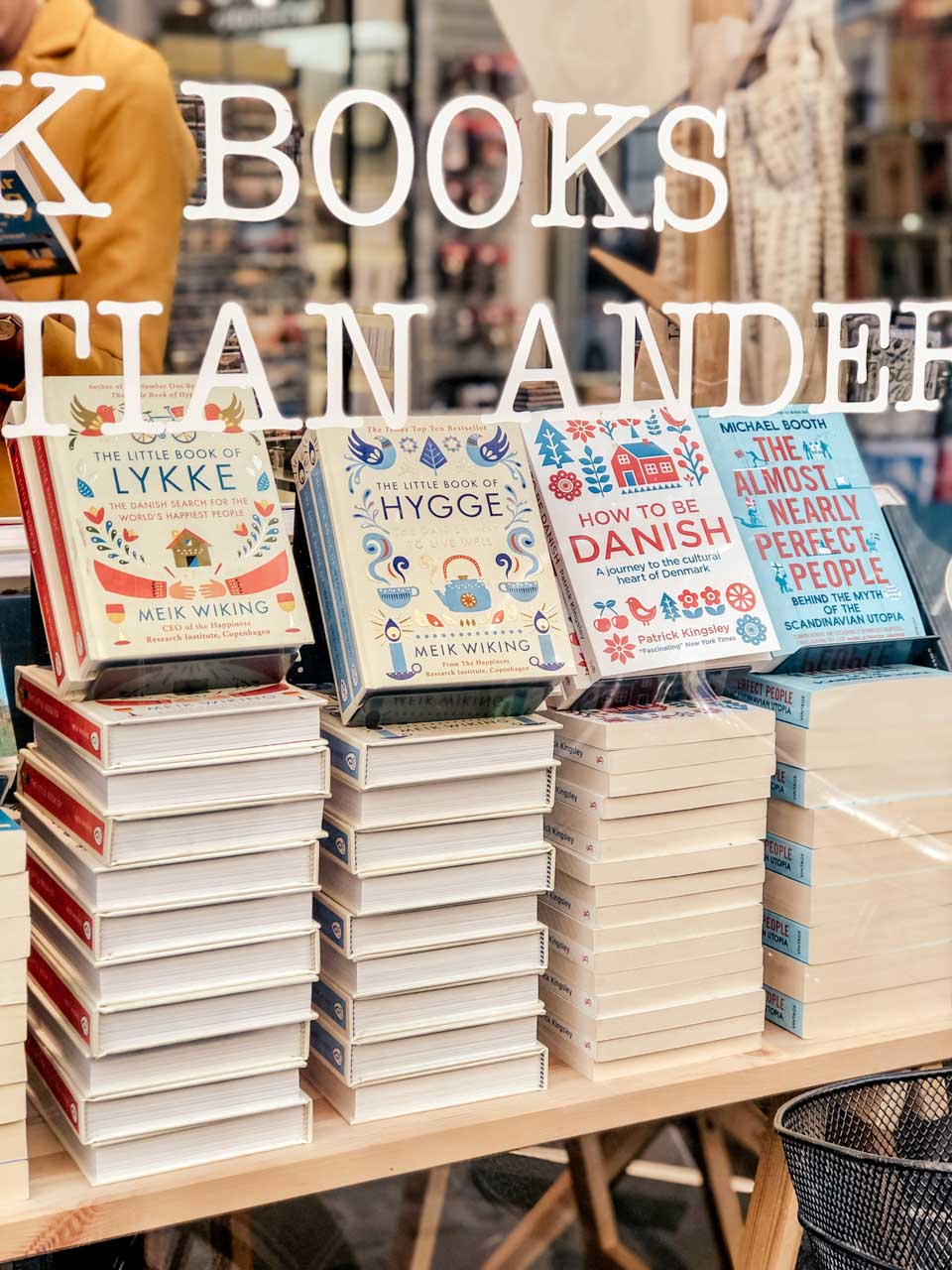 Books on display in a bookstore in Copenhagen, Denmark