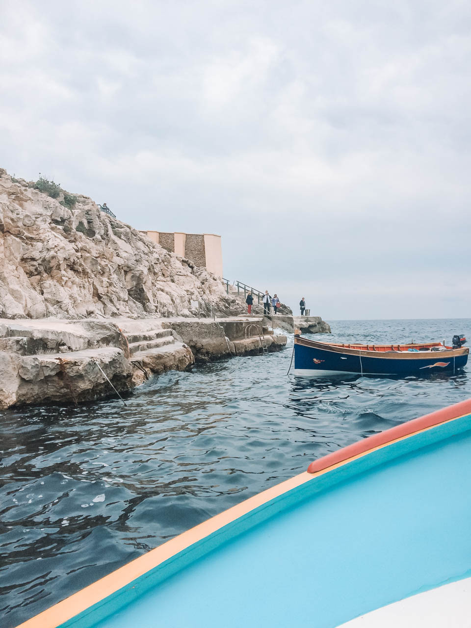 View of the Blue Grotto in Malta from a fisherman's boat