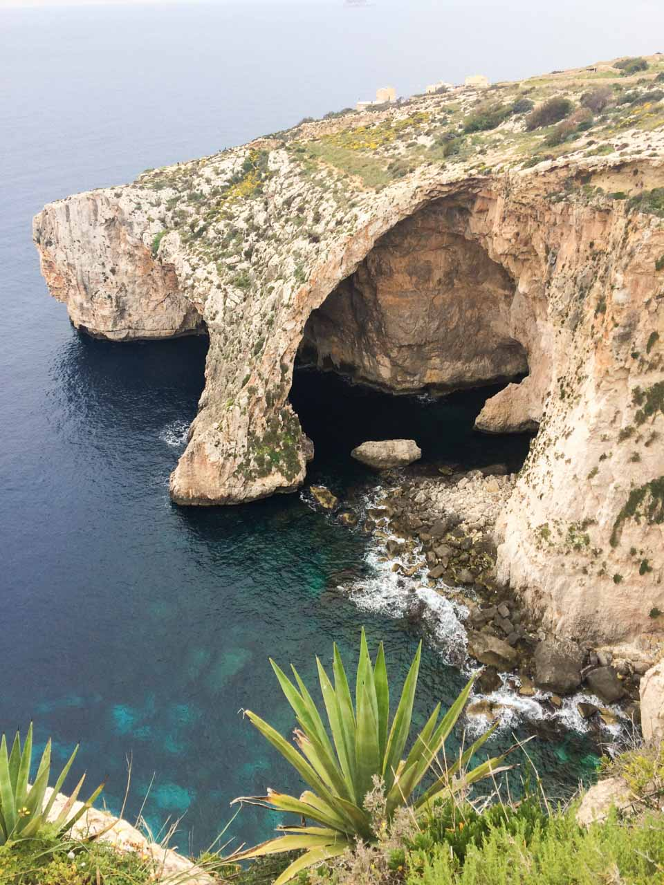 Arch of the Blue Grotto in Malta seen from above