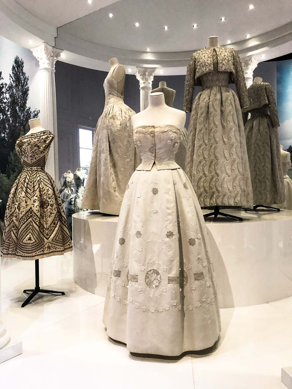 Dior dresses in the Historicism section of the Christian Dior: Designer of Dreams exhibition at the Victoria and Albert Museum in London