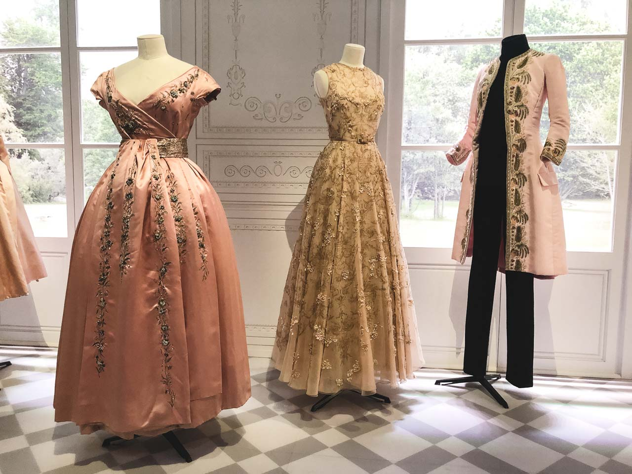 Dior creations in the Historicism section of the Christian Dior: Designer of Dreams exhibition at the Victoria and Albert Museum in London