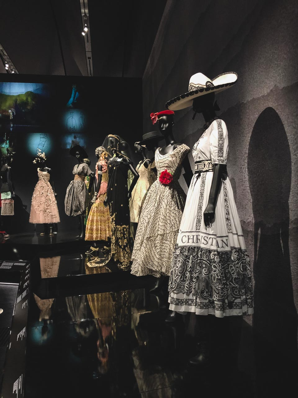 Travel-inspired Dior dresses at the Victoria and Albert Museum in London