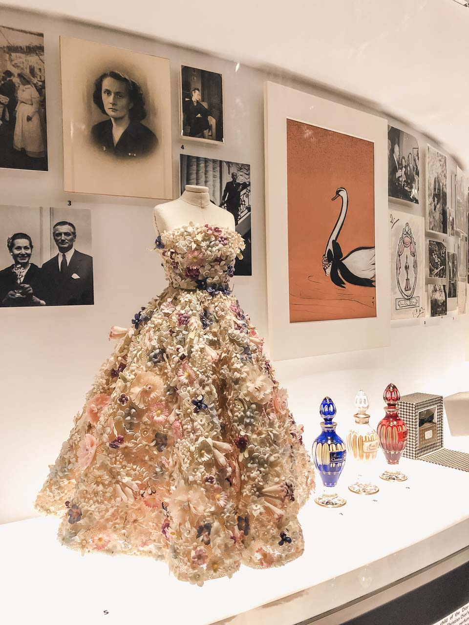 A flower-inspired Dior gown at the Victoria and Albert Museum in London