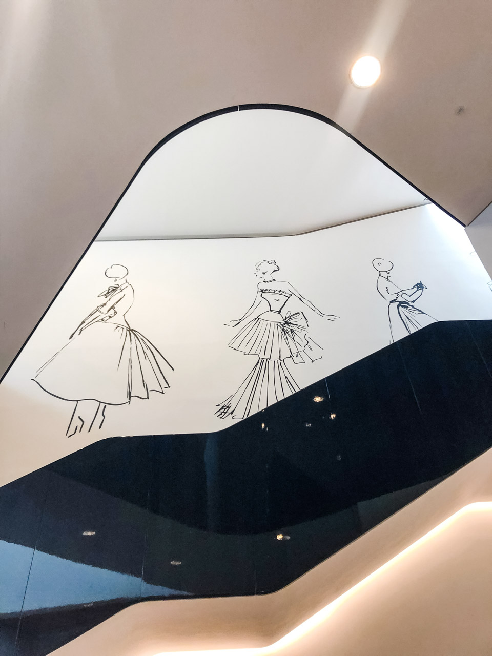 Sketches at the Christian Dior: Designer of Dreams exhibition at the Victoria and Albert Museum in London