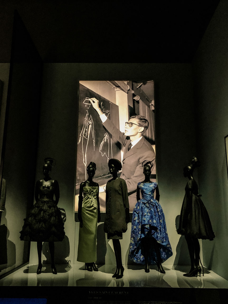 Creations of Yves Saint Laurent for Dior at the Victoria and Albert Museum in London