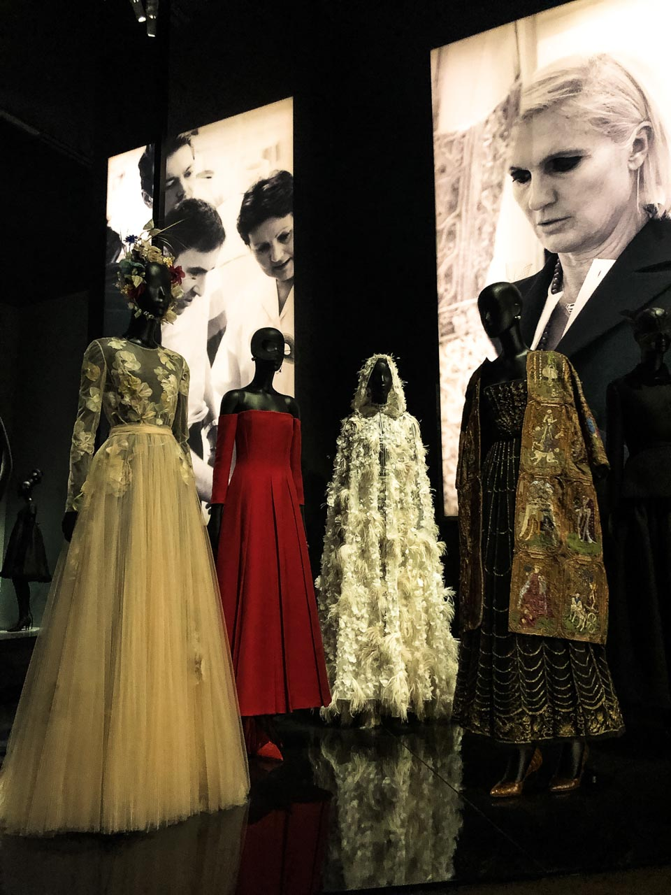 Creations of Maria Grazia Chiuri for Dior at the Victoria and Albert Museum in London