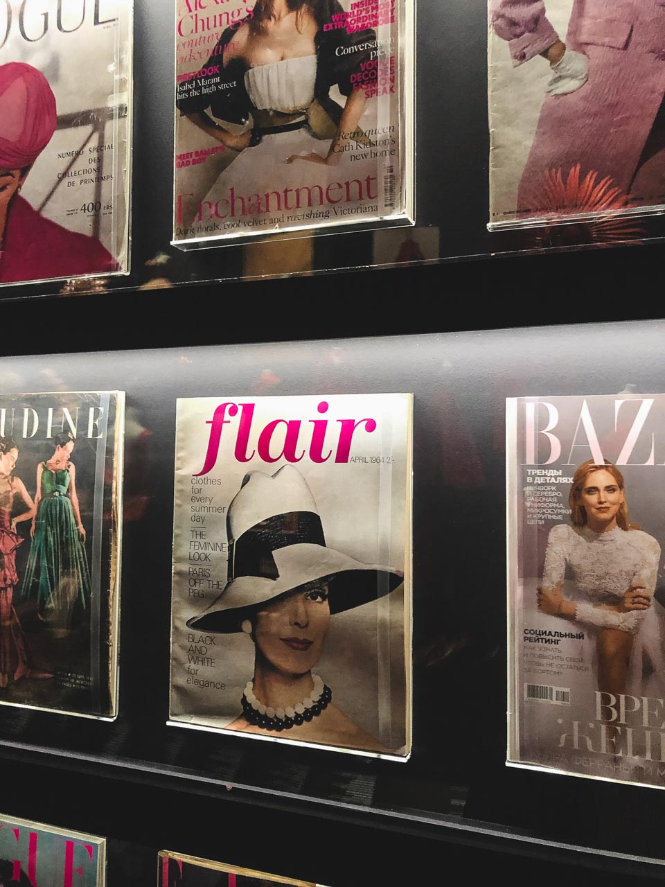 Magazine covers featuring Dior looks at the Victoria and Albert Museum in London