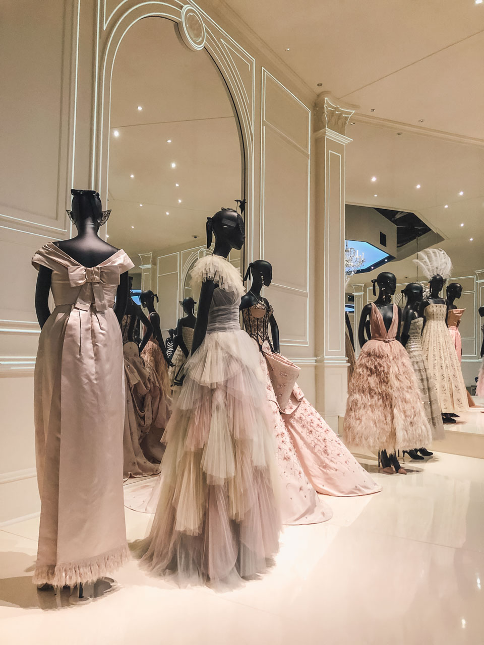 Dior haute couture gowns displayed at the Victoria and Albert Museum in London