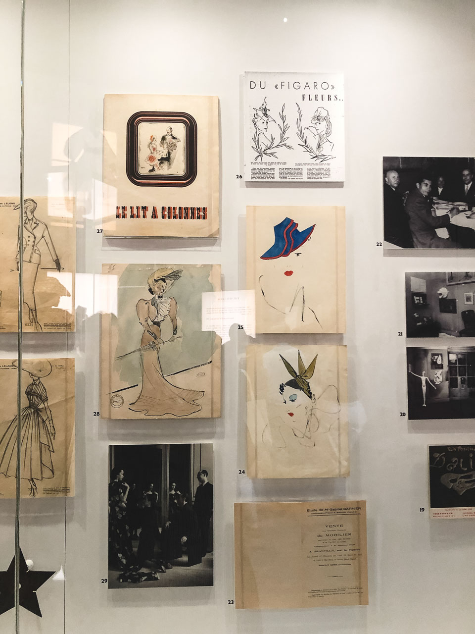 Dior sketches and illustrations at the Victoria and Albert Museum in London