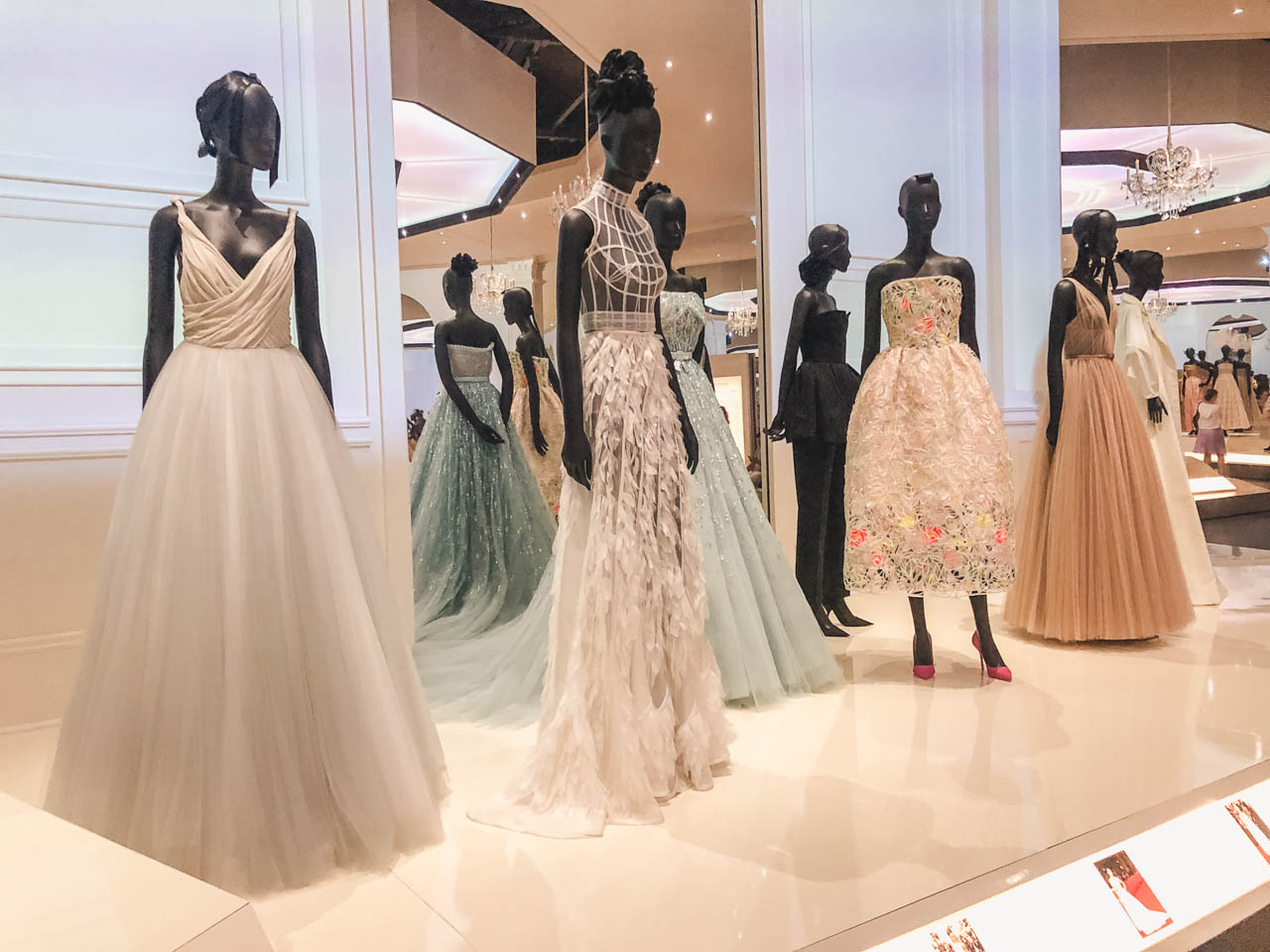 Dior haute couture gowns worn by celebrities displayed at the Victoria and Albert Museum in London