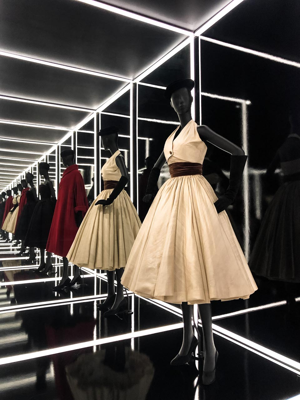 Dior dresses at Victoria and Albert Museum in London