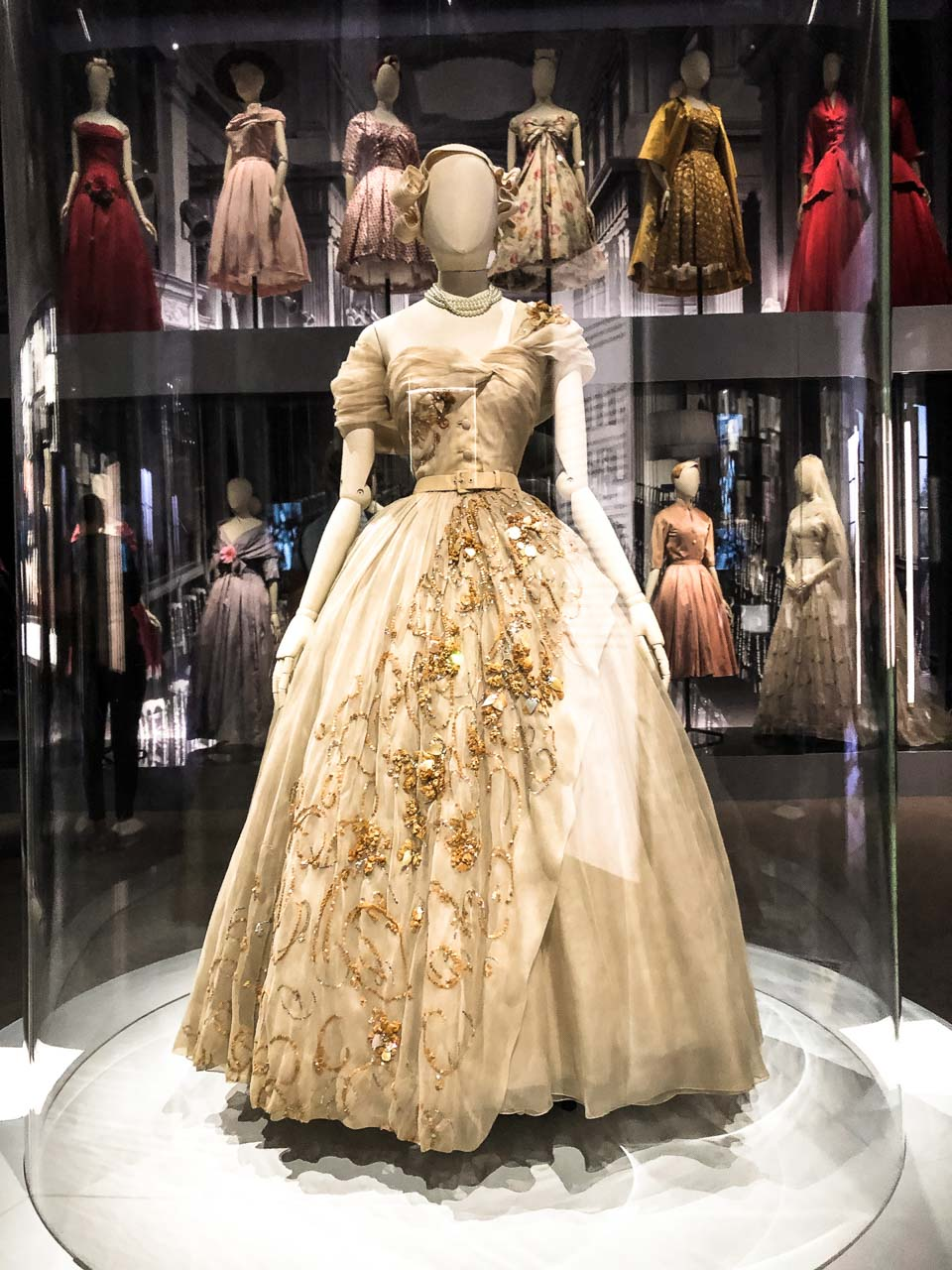 An off-white gown designed and gifted by Christian Dior to Princess Margaret for her 21st birthday