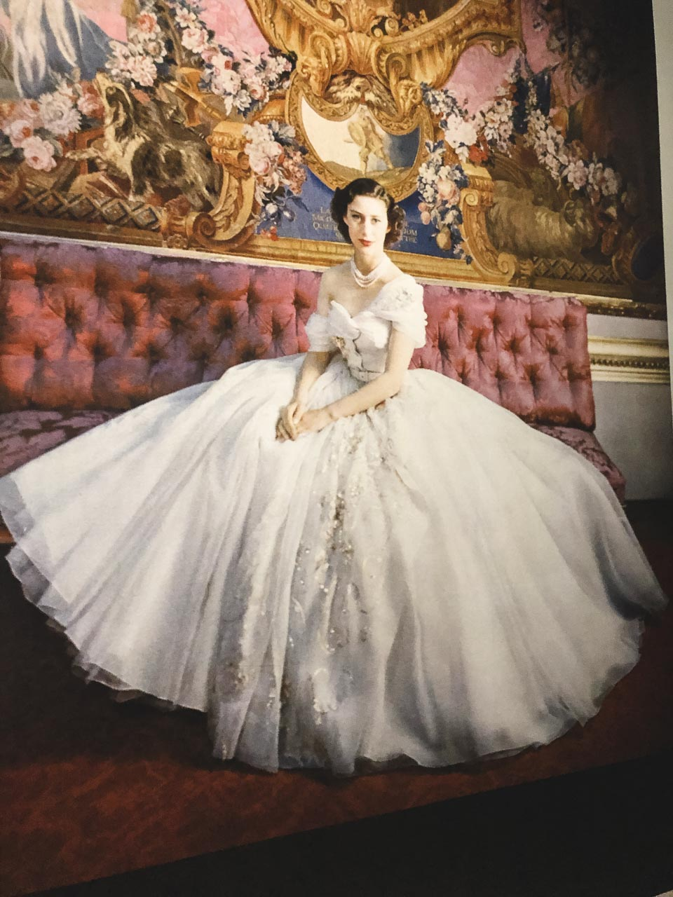A portrait of Princess Margaret wearing the gown gifted to her by Christian Dior
