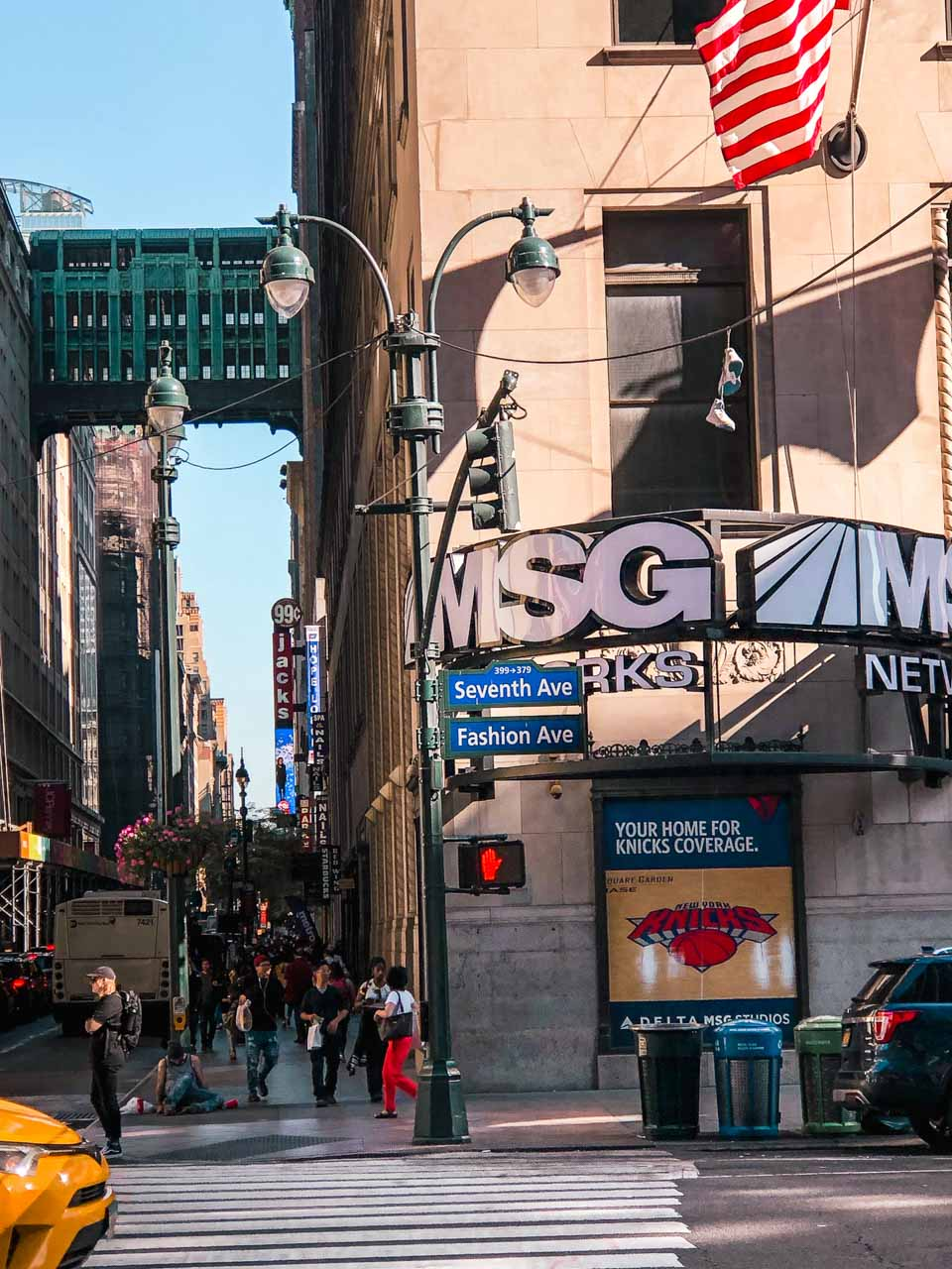 The view of Seventh Avenue, also known as Fashion Avenue, in New York City