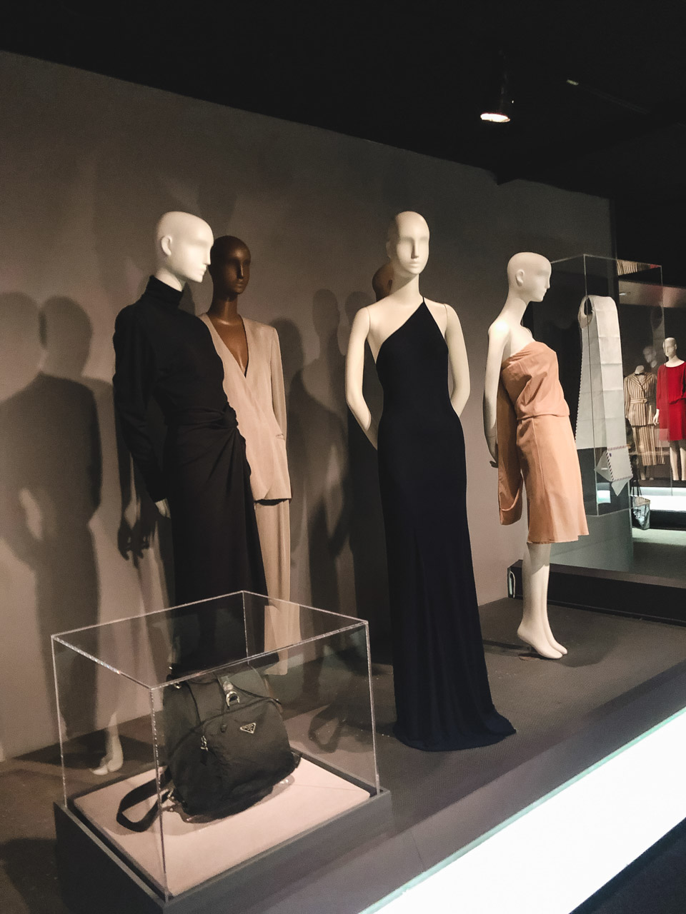 Elegant dresses on display at the Museum at the Fashion Institute of Technology in New York