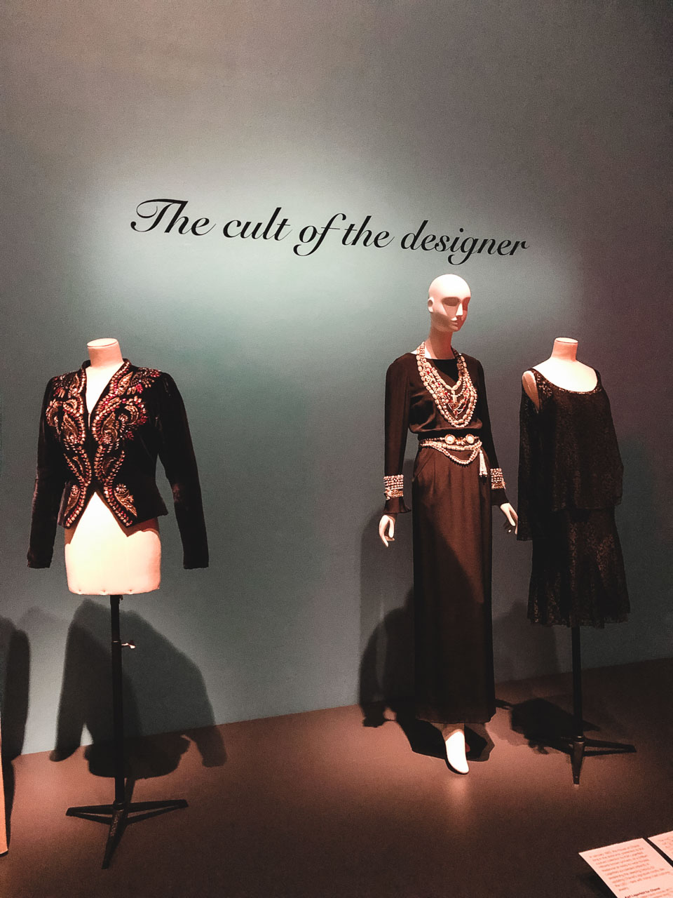 Chanel designs on display at the Museum at the Fashion Institute of Technology in New York