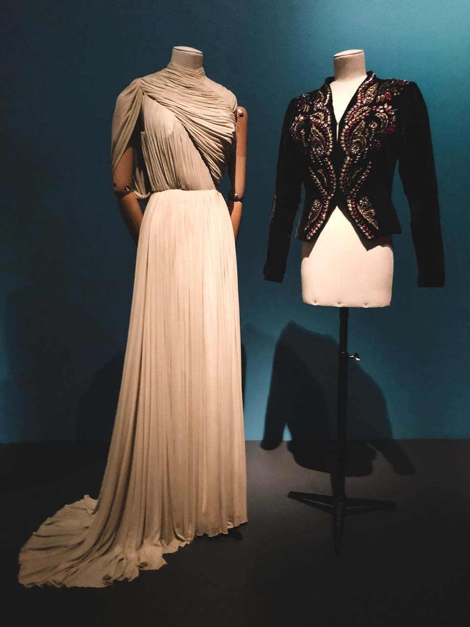 Clothes on display at the Museum at the Fashion Institute of Technology in New York
