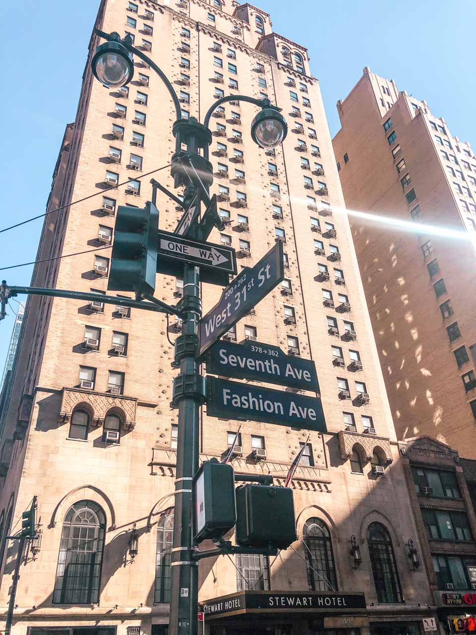 Stewart Hotel in New York City seen from Seventh Avenue, also known as Fashion Avenue
