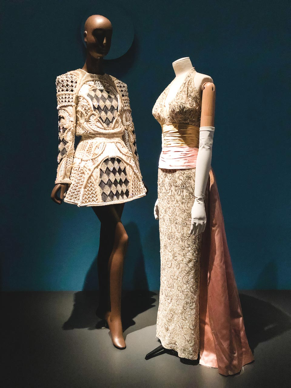 Balmain dresses on display at the Museum at the Fashion Institute of Technology in New York