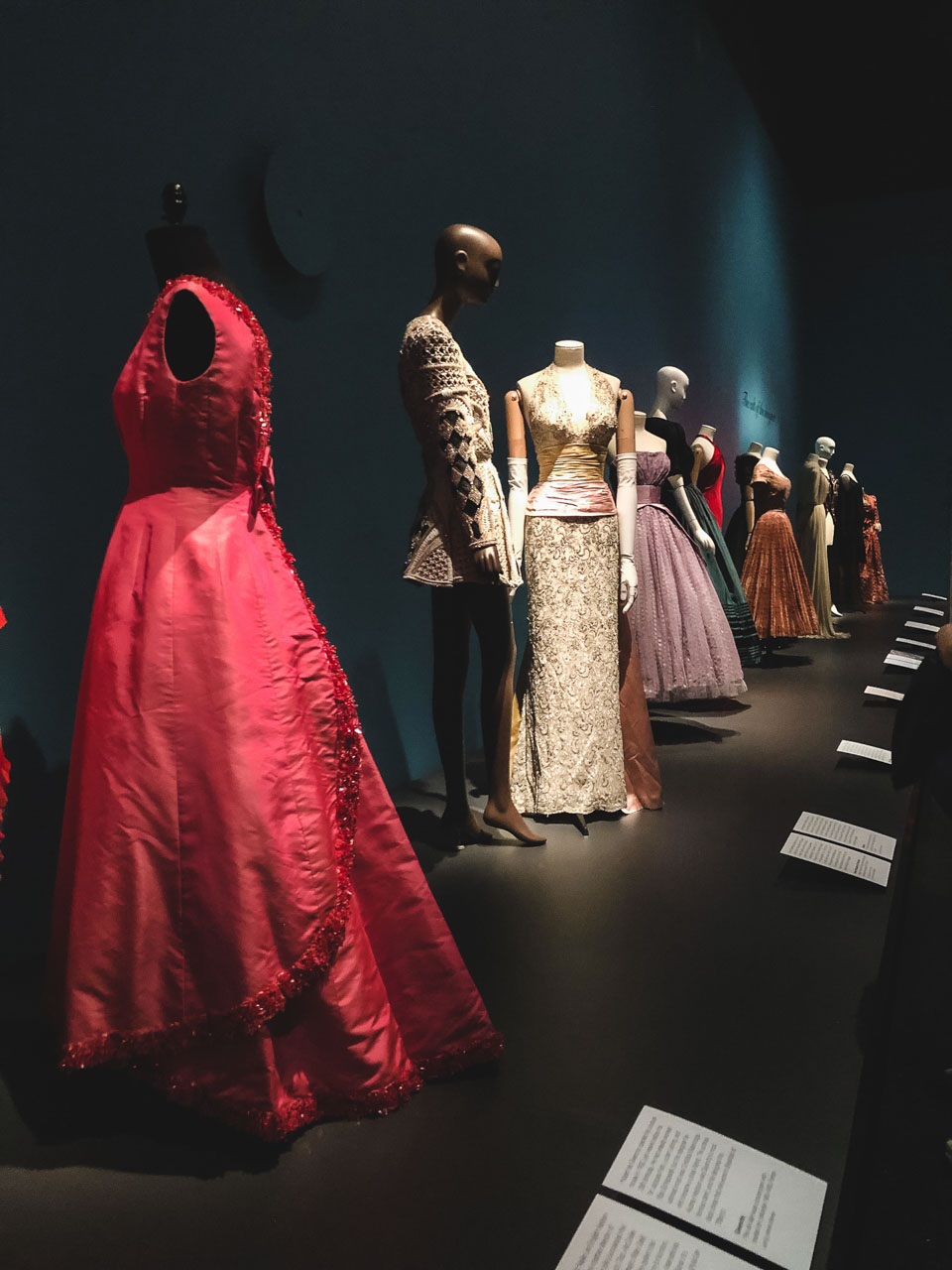 Dresses on display at the Museum at the Fashion Institute of Technology in New York