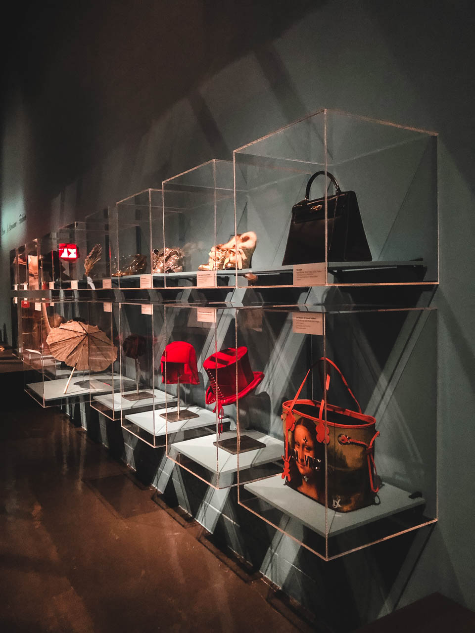 Bags and other accessories on display at the Museum at the Fashion Institute of Technology in New York