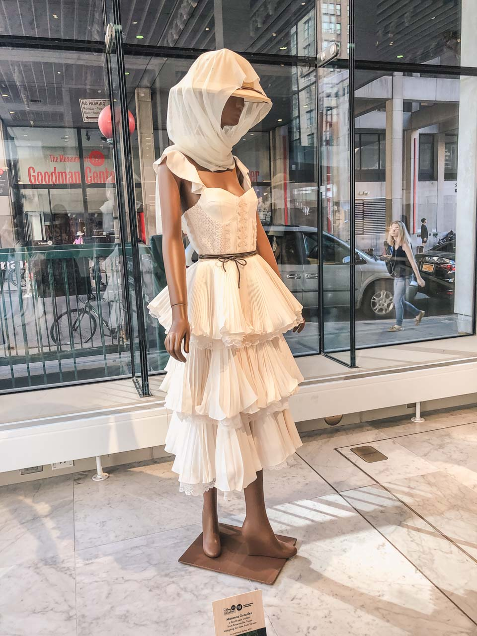 A dress at the Disney on Broadway x FIT Design Challenge Exhibition in New York