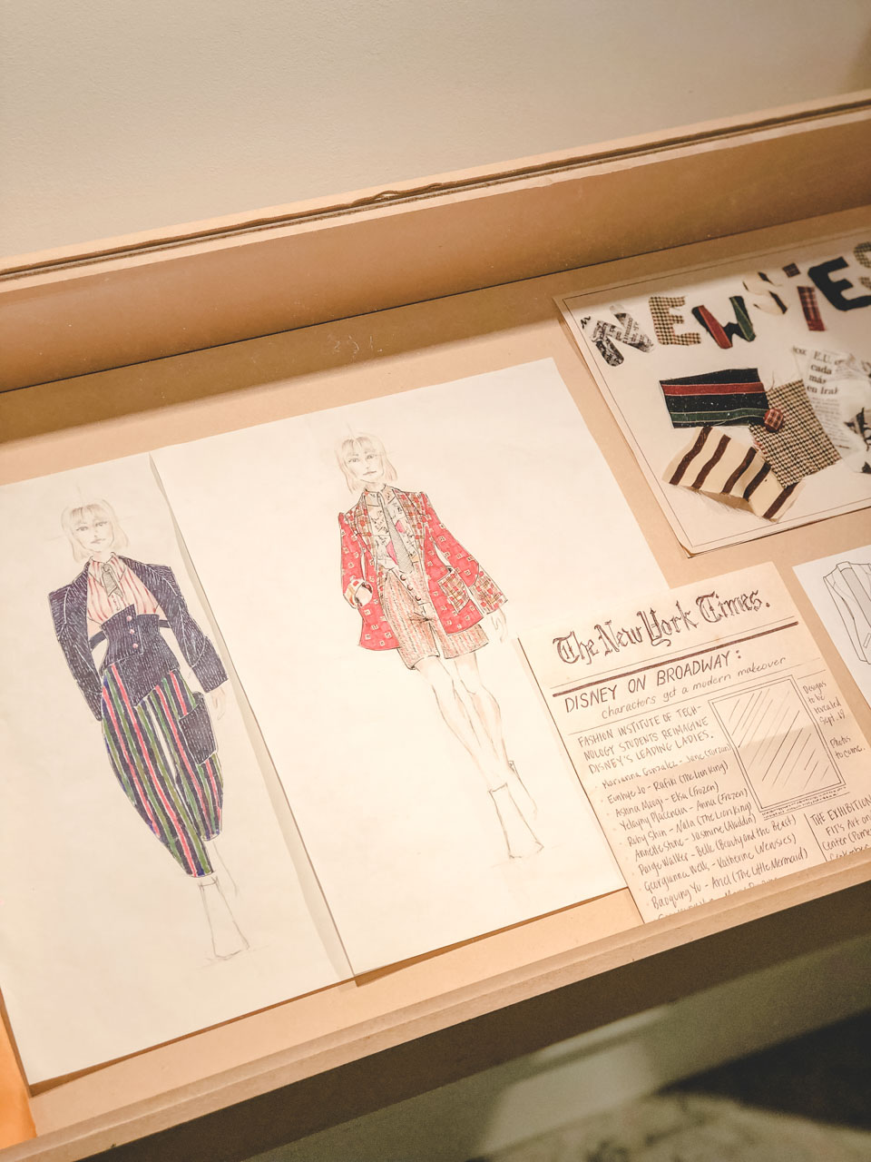 Sketches at the Disney on Broadway x FIT Design Challenge Exhibition in New York
