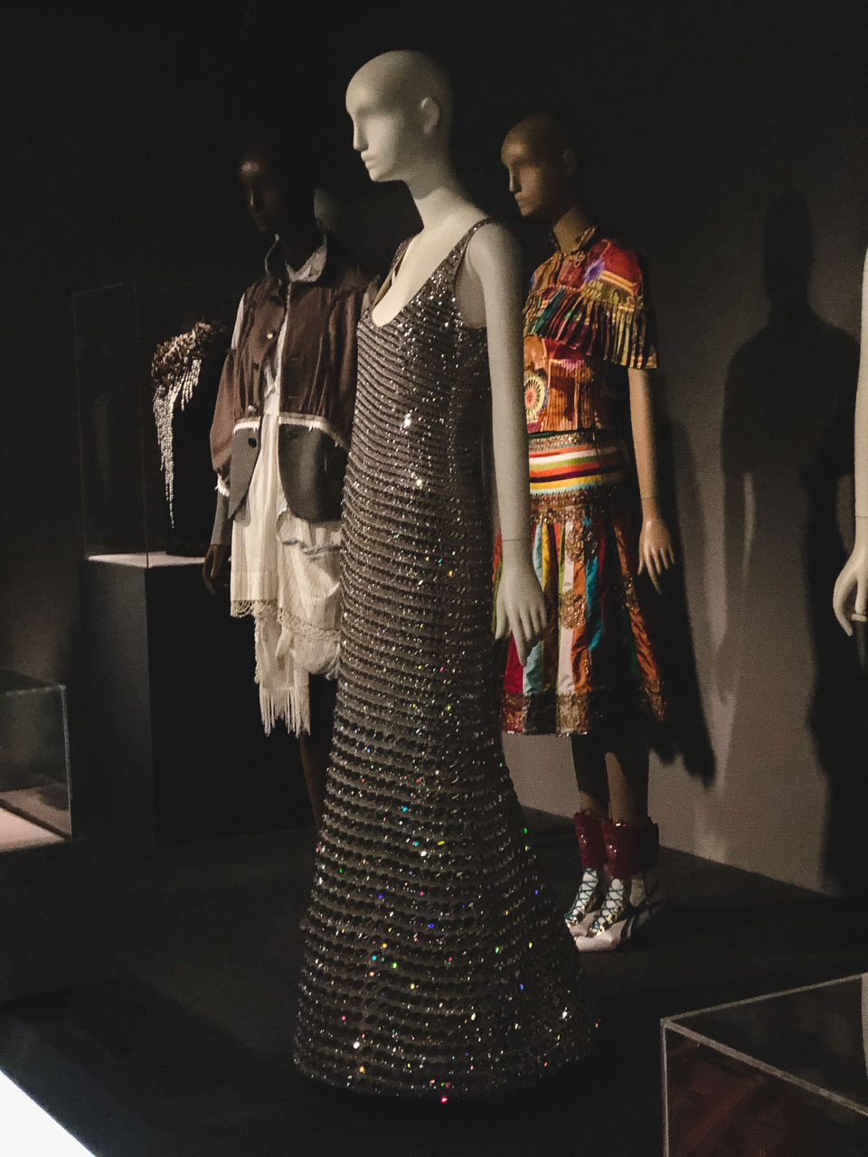 A sparkly dress on display at the Museum at the Fashion Institute of Technology in New York