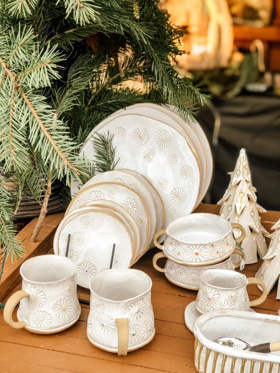 Handmade tableware at the Christmas market in Gdynia
