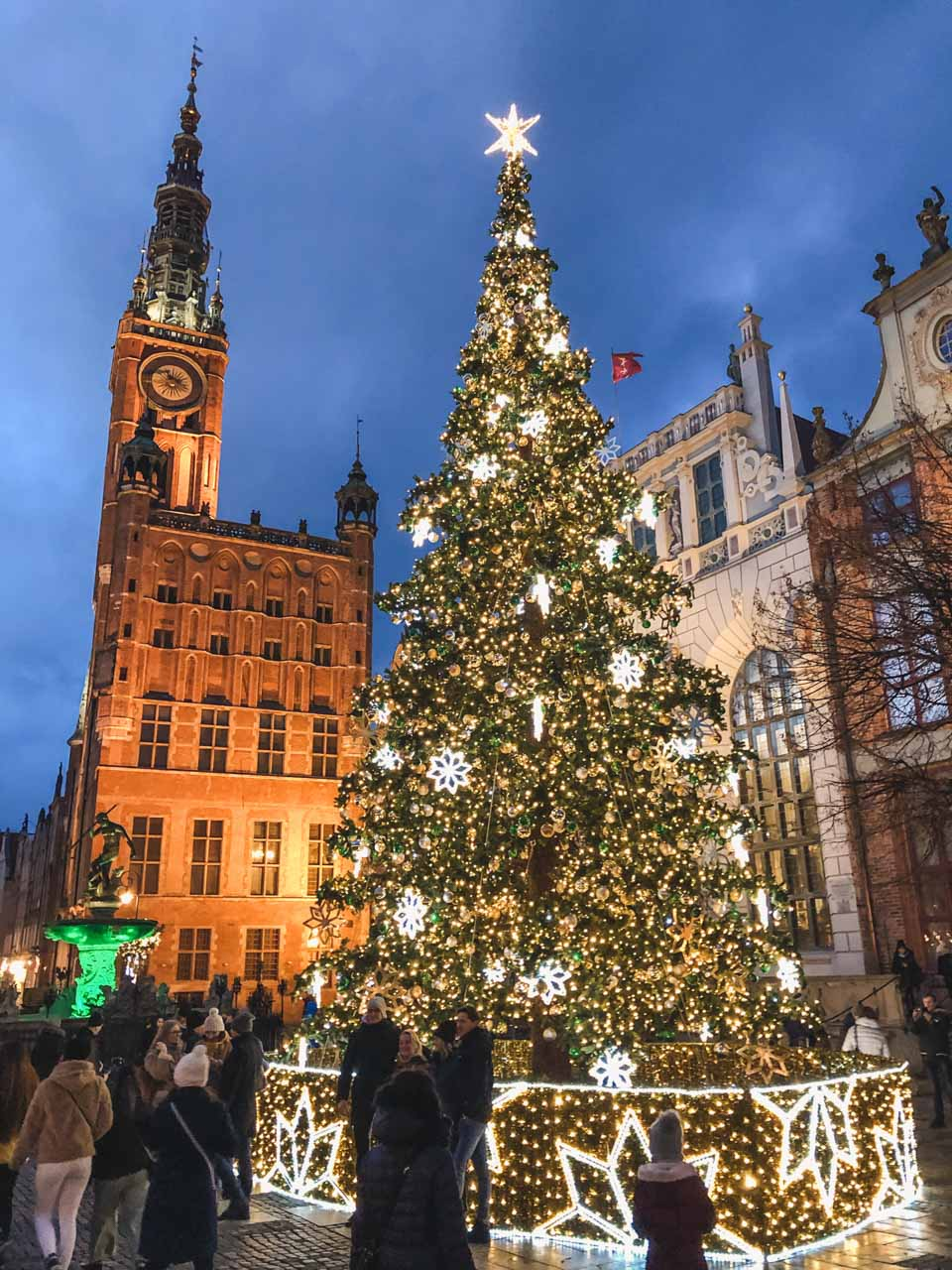 A Christmas tree outside the Artus Court in Gdańsk, Poland