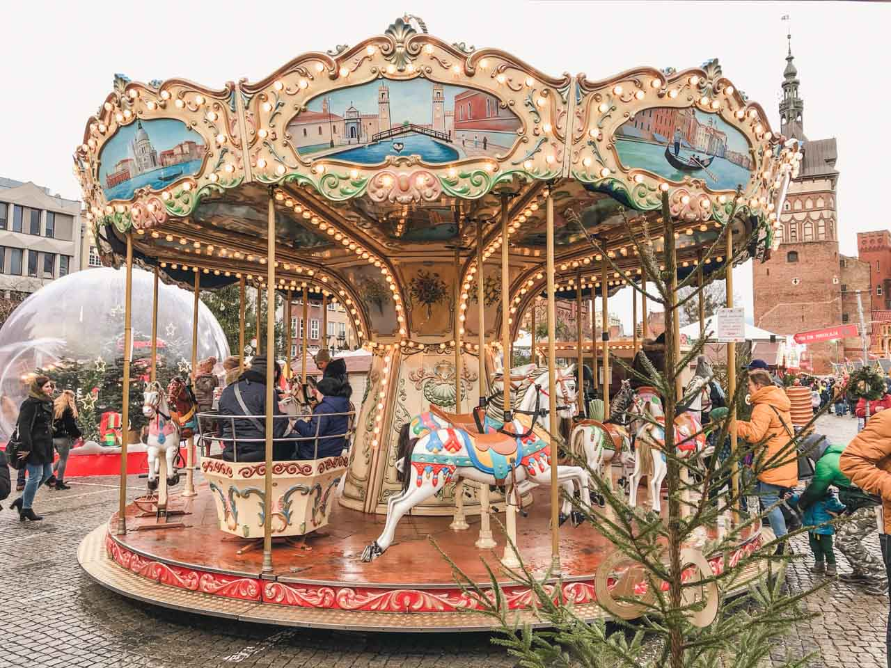 A carousel at the Christmas market in Gdańsk