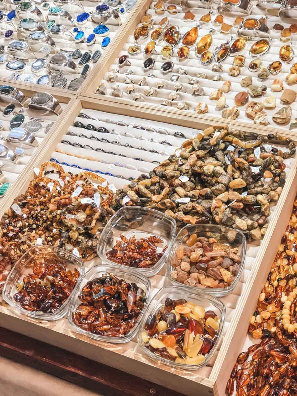 Amber jewellery at the Arts and Crafts Market in Gdańsk