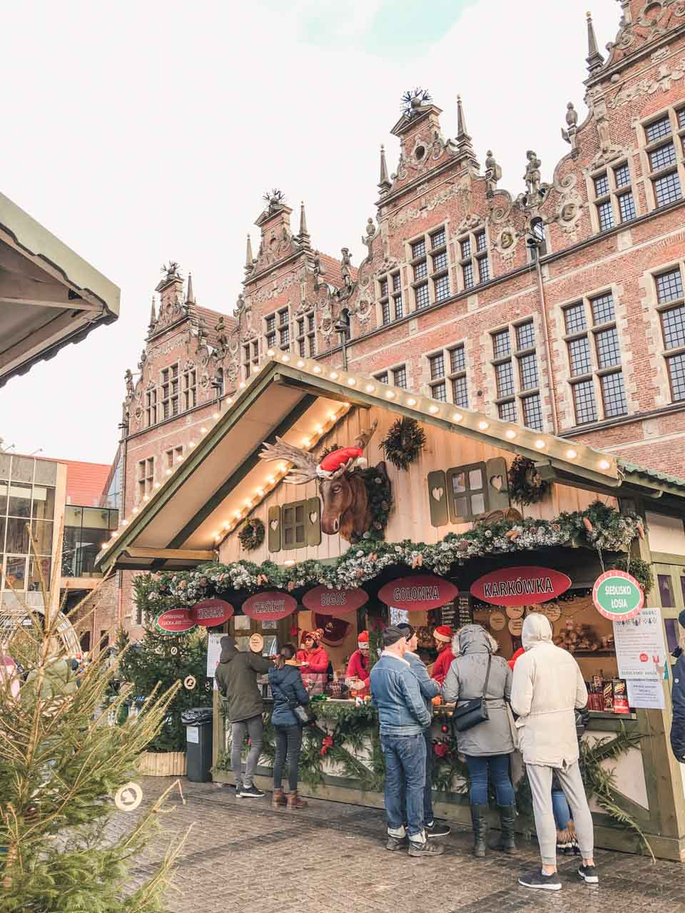 A stall with Lucek the Elk at the Christmas market in Gdańsk