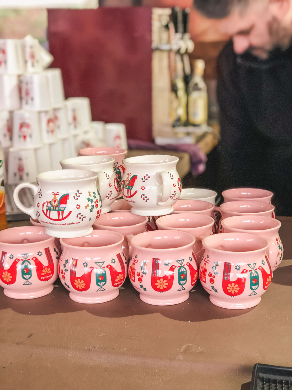Ceramic collector's mugs at the Christmas market in Gdańsk