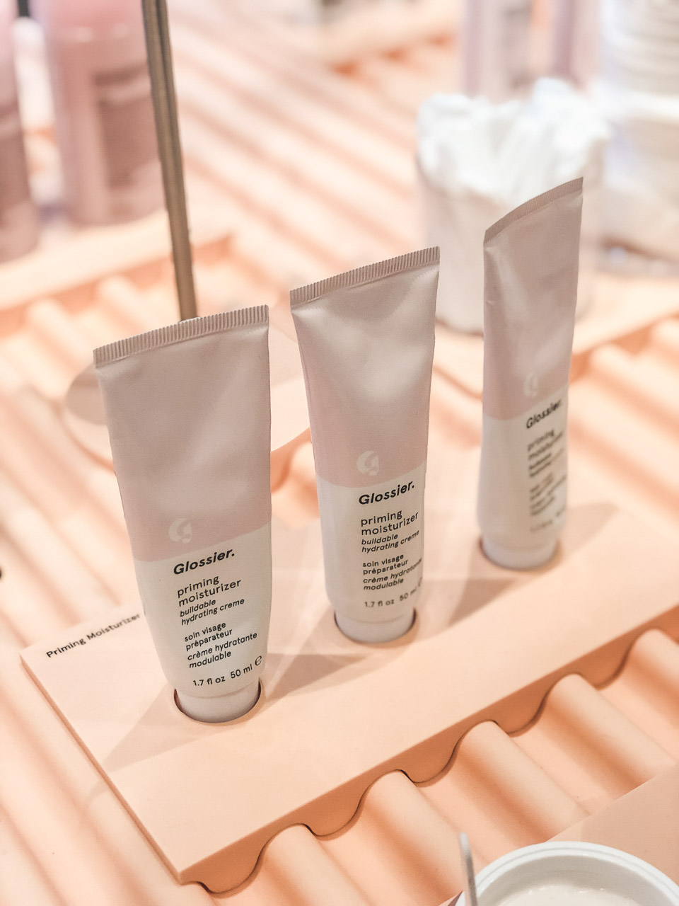 Priming moisturisers on display inside the NYC store