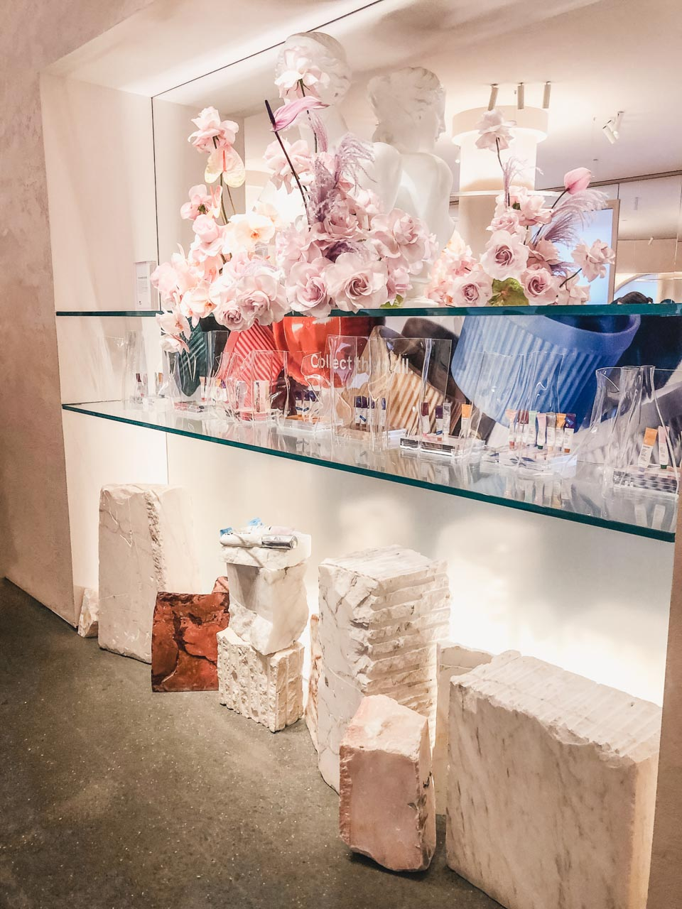 Decorations inside the Glossier flagship store in New York City