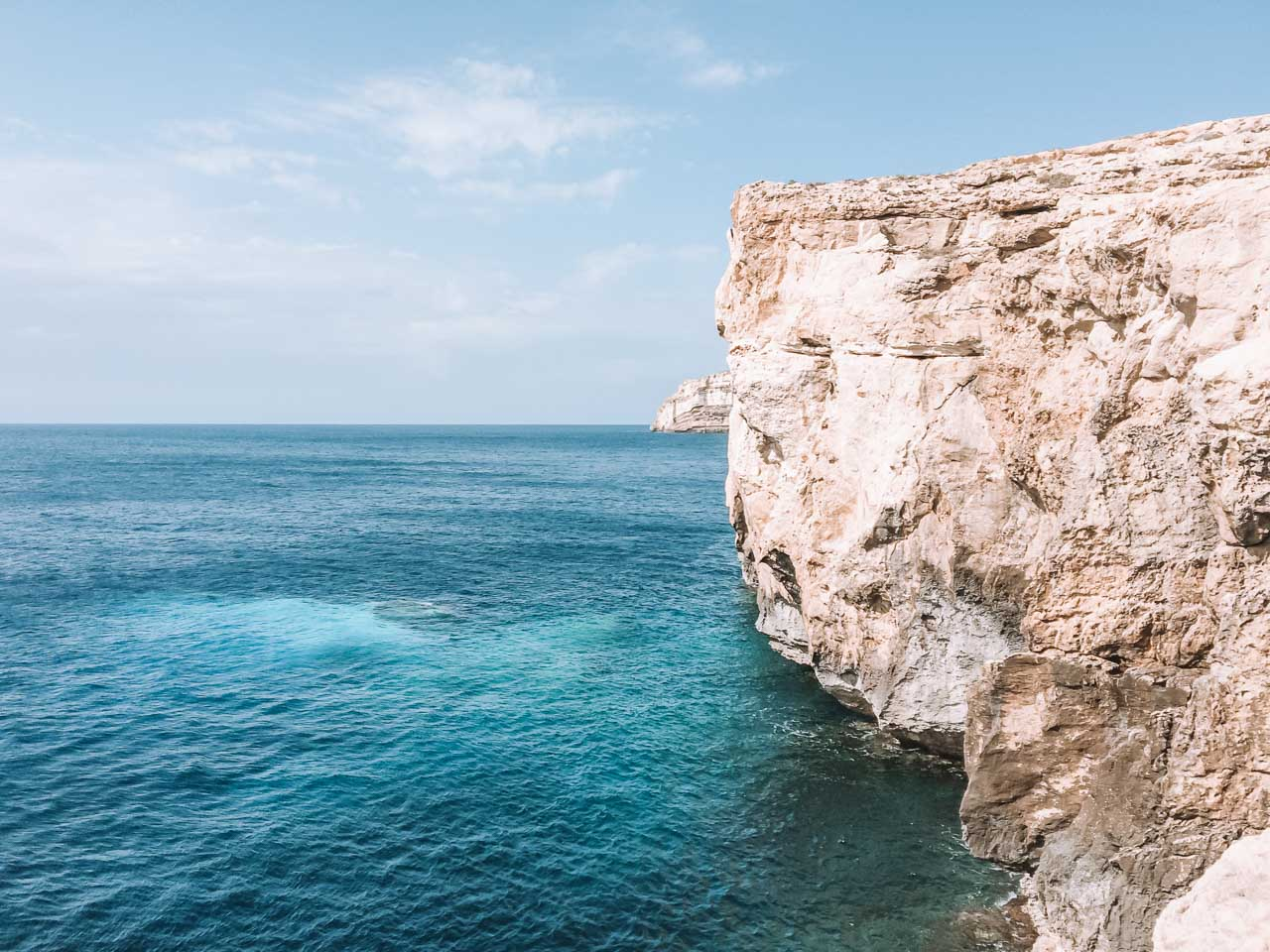 The place where the Azure Window in Gozo used to be