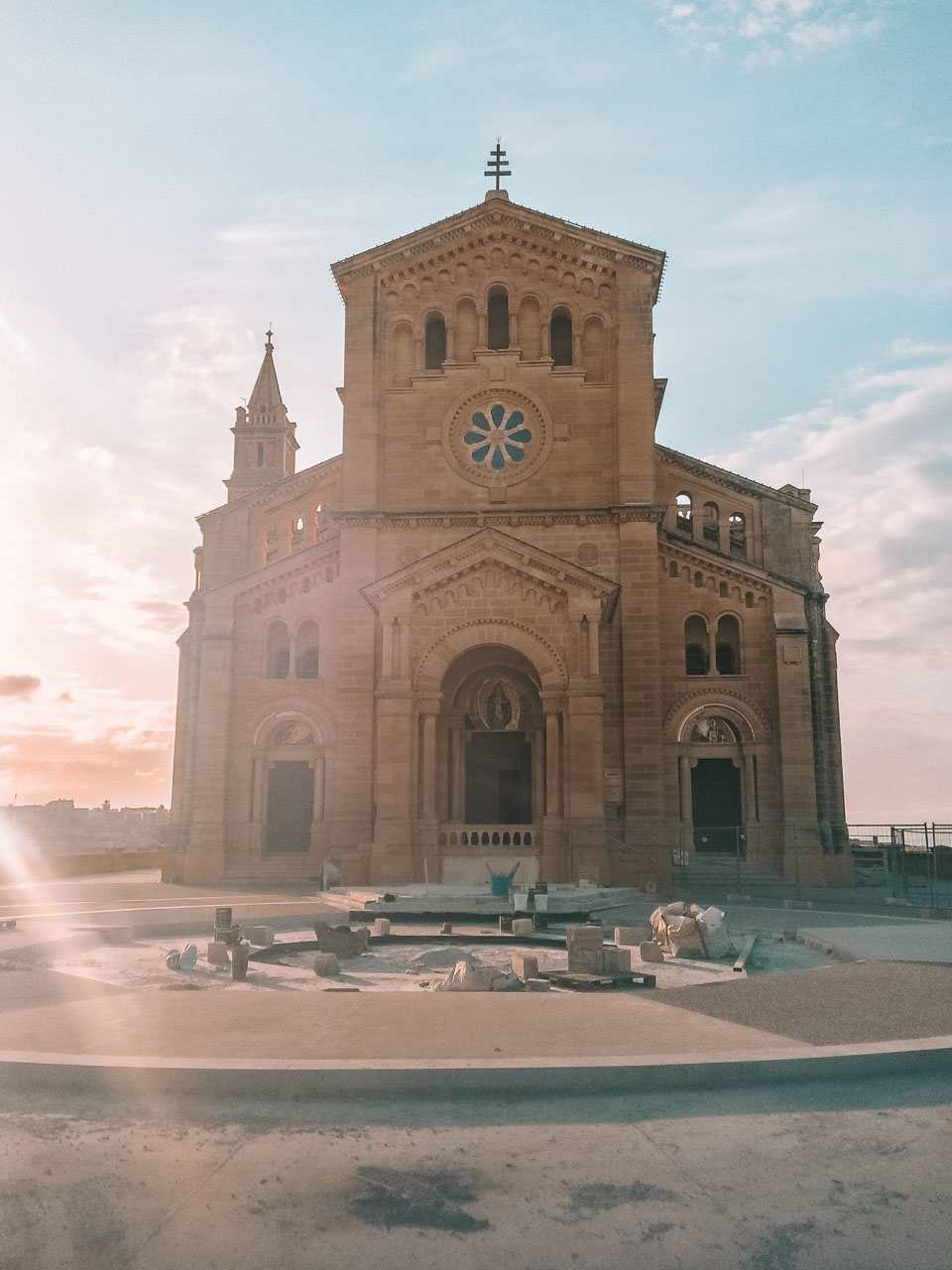 The outside of the Basilica of Ta' Pinu in Gozo during sunset