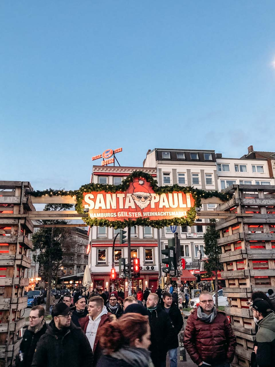 People at the St. Pauli Christmas market in Hamburg