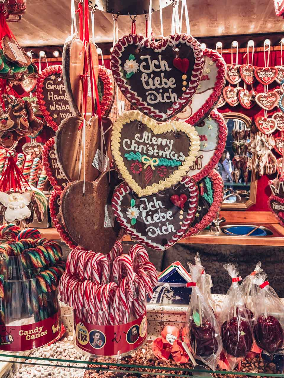 Heart-shaped gingerbread at a Christmas market