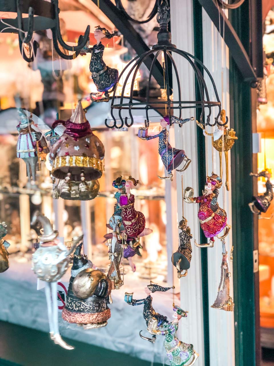 Handmade Christmas ornaments at the City Hall Christmas Market in Hamburg