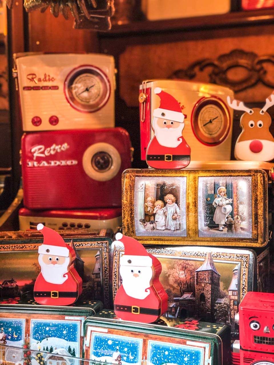 Decorative Christmas cans at the City Hall Christmas Market in Hamburg